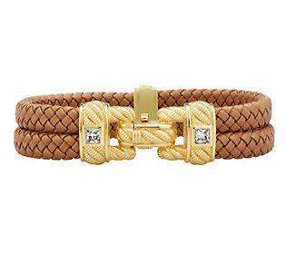 Judith Ripka Sterling/14K Gold Clad Braided Double Row Bracelet
