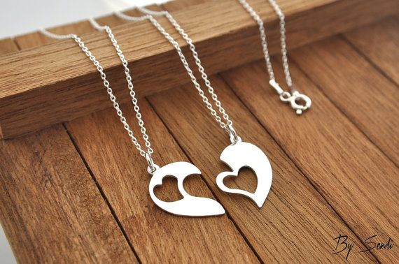 Sterling Silver 2 Heart Necklace,2 Heart Necklace, Heart Pendant, Heart Silver, Heart, love, necklace for sisters, for friends,…