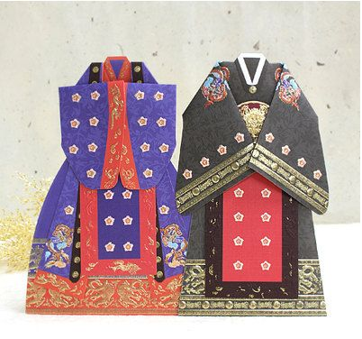 Hanbok korean traditional wedding dress card set