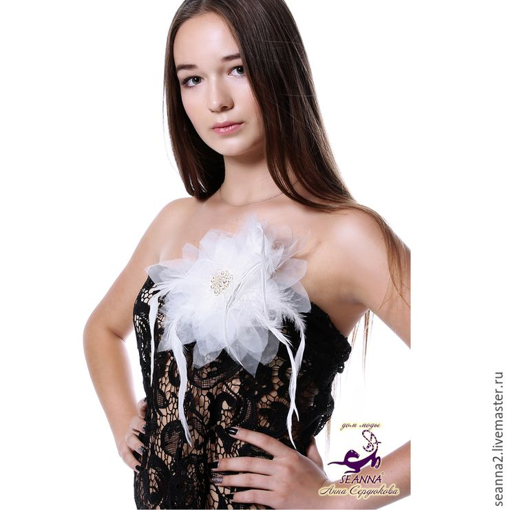 """Купить Роскошная брошь-цвето """"Жемчужный лебедь"""" с перьями,жемчугом,Swarovski - белый, цветок"""