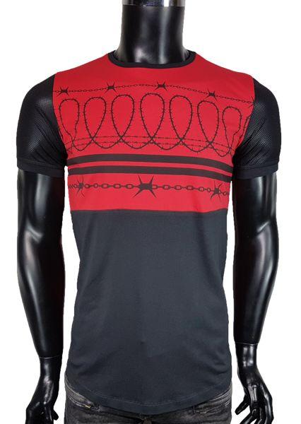 T-Shirt męski z siatką - Czerwony - T-shirty męskie - Awii, Odzież męska, Ubrania męskie, Dla mężczyzn, Sklep internetowy