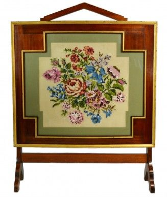 Large Woolwork Tapestry Fire Screen, Antique English Victorian, circa 1900