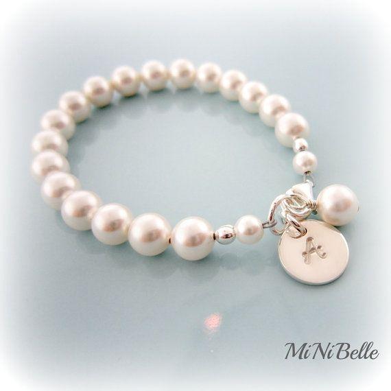Baby Pearl Bracelet. Personalized Baby Pearl Bracelet. Baptism, Flower Girl, Weddings, First Communion on Etsy, $22.00