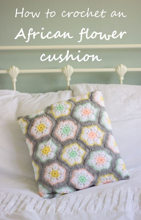 How to crochet an African flower cushion + free pattern | from floral and feather
