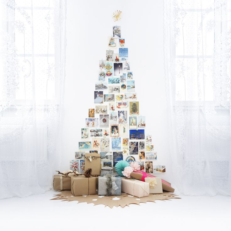 Christmas Card Wall Tree with Cutout Kraft Paper Tree Skirt by Stylist Lo Bjurulf