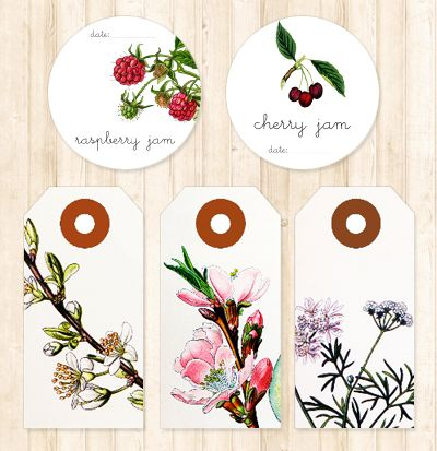 Printable jam labels and gift tagsBotanical Prints, Little Gift, Diy Gift, Homemade Jam, Gift Tags, Handmade Gift, Printables Labels, Jam Labels, Free Printables