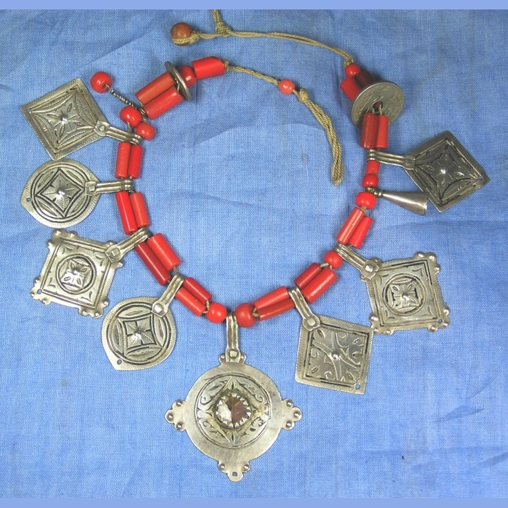 Morocco   An 'Ighram' necklace from the Anti Atlas    Old silver pendants of the finest silver, with old red glass. on simple and original stringing   Circa 1910.: Collier Necklaces, Red Glasses, Anti Atlas, Berber Necklaces, Ighram Morocco, Necklaces Statement, Originals String, Finest Silver, Silver Pendants