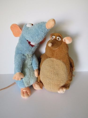 Disney-Store-Stamp-Exclusive-Ratatouille-Remy-amp-Emile-Large-Plush-Beanie-Teddy