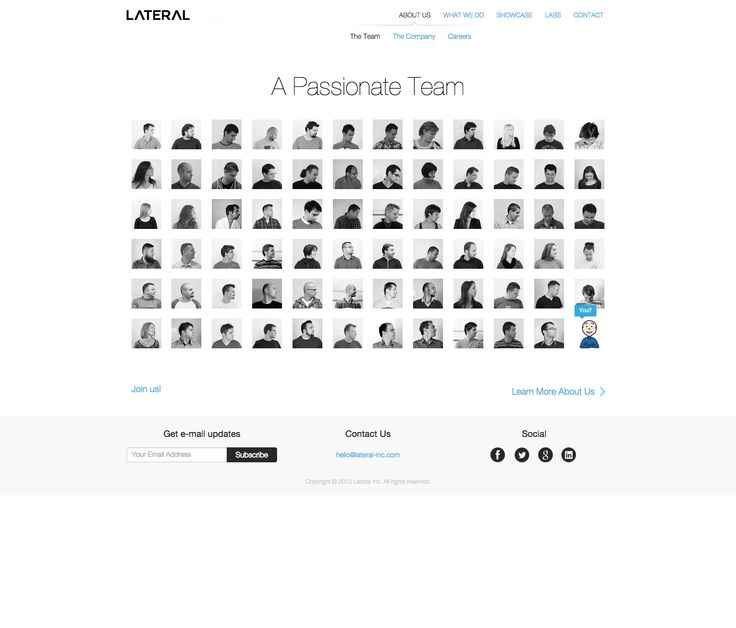Lateral About Us Page Design 2015 – The faces follow your cursor!