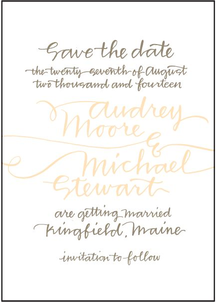 Letterpress Wedding Save the dates | String Calligraphy Design | Bella Figura Letterpress