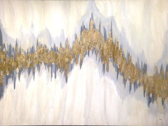 """Sold!! Acrylic Abstract Art--Large Canvas Painting Gray, Blue and Tan, 30"""" x 40"""" real gold leaf"""