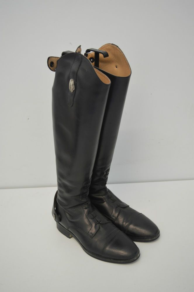 Stivali da equitazione in cuoio colore nero equestrian apertura cerniera n.38