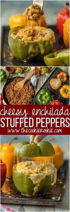 CHEESY ENCHILADA STUFFED PEPPERS are our go-to easy dinner recipe. These bell peppers are stuffed with beef, green chiles, onions, enchilada sauce, and so much cheese! via @beckygallhardin
