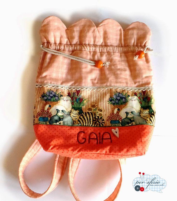Fabric backpack for school  Ritorno a scuola...lo zainetto in tessuto personalizzato è pronto..già per la primavera!
