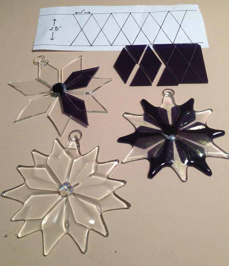 Dimensions for a fused glass snowflake