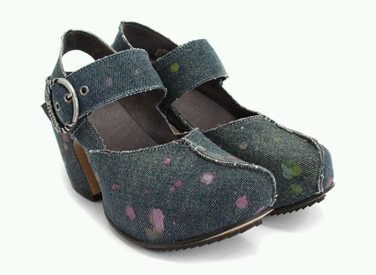 JOHN FLUEVOG PREPARE GUIDE DENIM PLATFORM SHOES