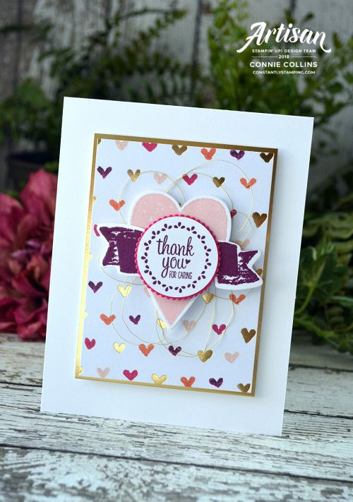 Thank you card featuring Sure Do Love You and Label Me Pretty stamp sets by Stampin' Up! designed by 2018 Artisan Design Team member, Connie Collins