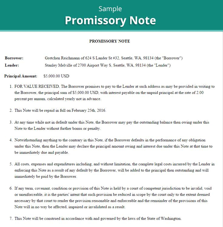 promissory notes samples provided by government - AOL Image Search Results