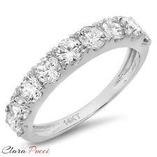 1.0 CT allanar conjunto anillo de compromiso Alianza de Boda Diamante De Laboratorio De Oro Blanco Sólido 14kt