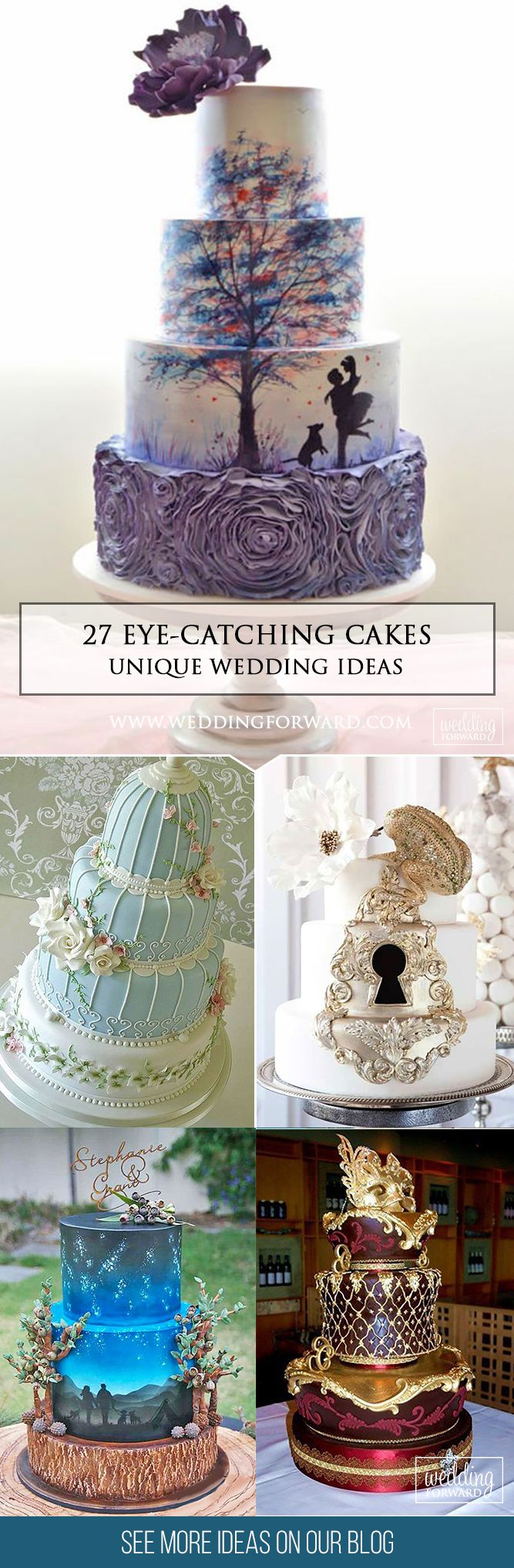 27 Eye-Catching Unique Wedding Cakes ❤  From birdcage to fairy tale we're gathered unique wedding cakes to help you find some inspiration and do your wedding for 100 percent awesome! See more: http://www.weddingforward.com/unique-wedding-cakes/ #weddings #cakes