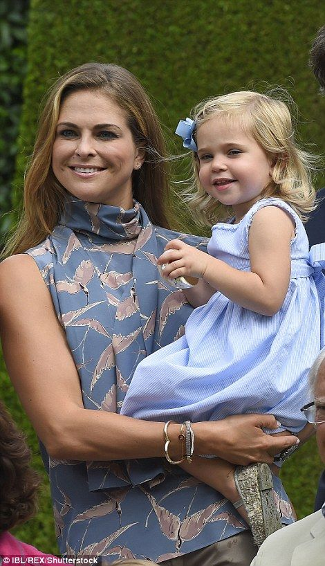Princess Madeleine, wearing a stylish grey sleeveless blouse with swallows and Princess Le...