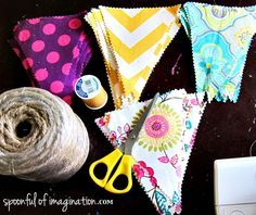 fabric banner supplies...DIY. did this for a friend's baby shower, but used silk ribbon instead of the twine.
