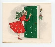Vintage Girl in Petticoat Visiting w/ Holly Holiday Girl Norcross Christmas Card