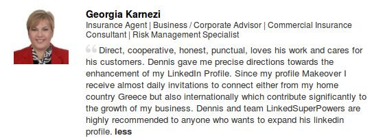 We are very happy to have collaborated with Georgia Karnezi towards the Professional Makeover of her LinkedIn Profile! Thank you Georgia! www.LinkedSuperPowers.com