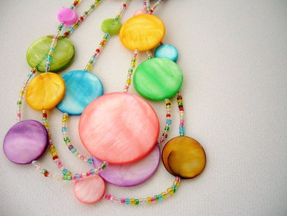 Handmade Fashion Jewelry Multi Colored Round Shell Disc - Layered Necklace - Summer Rainbow  Material: assorted shell beads (chips) glass seed beads  Necklace length total 46 cm + extender approx 5cm   All my pieces are made from the heart and carefully handcrafted with attention to detail from start to finish in a smoke free environment.