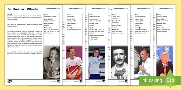 This fact file is a great way to teach your children about the achievements of some famous people who were born in Glasgow - Katherine Grainger, Charles Rennie Mackintosh, Sir Mortimer Wheeler, Andy Murray, Duncan Bannatyne and Sir Alex Ferguson.