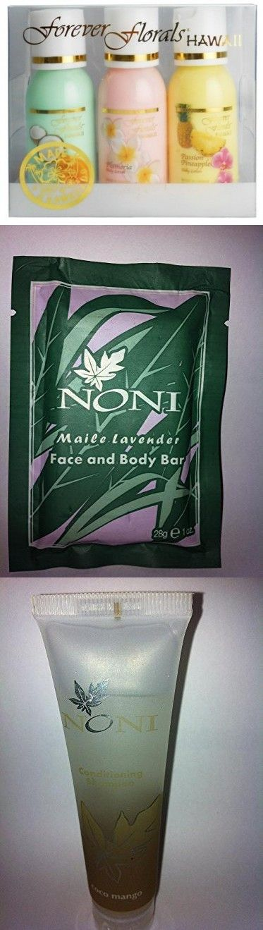 Hawaiian Scented Body Lotion Petite Sampler 3 Bottles 1oz Each Forever Florals and 1 Tube of Noni Coco Mango Conditioning Shampoo, 1 Bar of Noni Maile Lavender Face & Body Soap