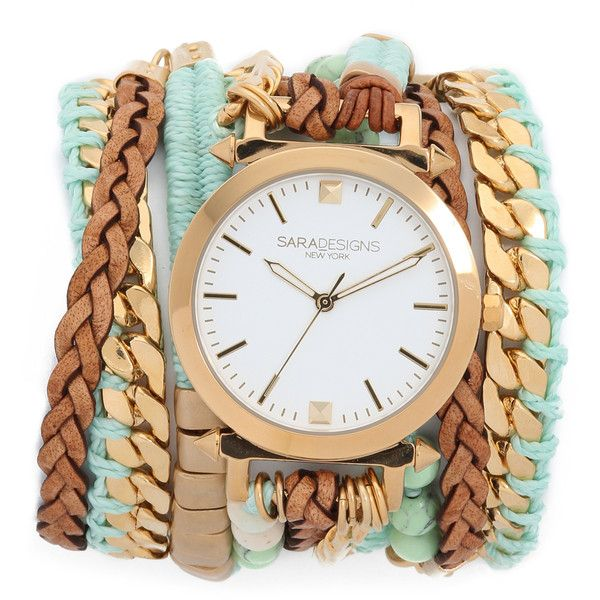 opaladriana0012: Sara Designs Macrame Wrap Watch ❤ liked on Polyvore (see more woven bead bracelets)