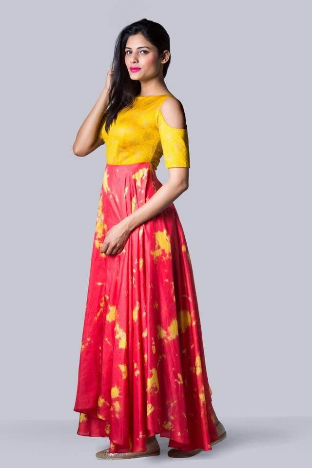 SAS09 : Yellow and Red Tie Dye Cold Shoulder Drape  Issa Studio can customize the colour   size as per your requirement.  WhatsApp on 9949944178 or mail us at issadesignerstudio@gmail.com