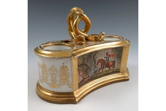 A Flight, Barr & Barr Worcester inkwell, the waisted oval body painted to the front with a rectan