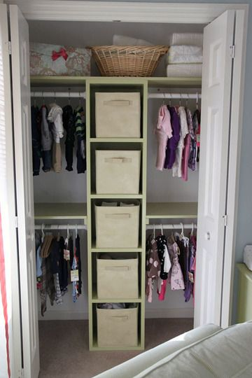 closet organization - 2 bars in one side, one on the other and inserts to make 1 box into 4 for shoe storage.