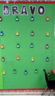 Bulletin Board with clips - place the small yearbook photo on the top of the clip/name