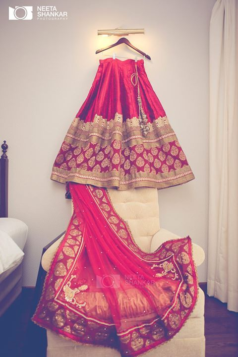 Red and gold Indian bridal lehenga. #indianwedding #shaadibazaar #lehengA