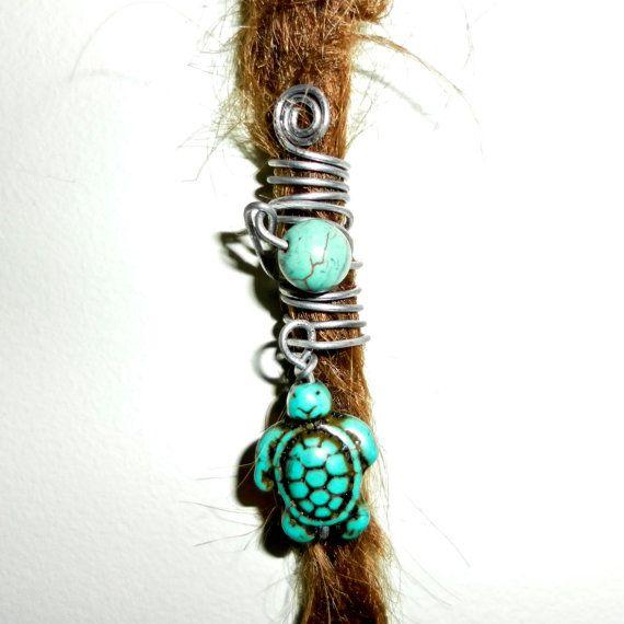 turquoise turtle tortoise dread bead gemstone by seididread, €8.50