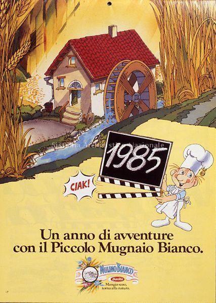 Immagine del Piccolo Mugnaio Bianco, campagna telelvisiva a cartoni animati su disegni di Grazia Nidasio rivolta al target dei bambini e proposta da Mulino Bianco dal 1982 al 1987