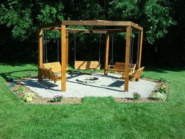 swing fire pit | Octagon five swing backyard swing./ fire pit. | Home Ideas: Backyard Beautiful, Backyard Renovation, Home Ideas, Swings Fire Pits, Backyard Fire Pits, Swings Backyard, Backyard Swings, Octagon Swings, Yard Ideas