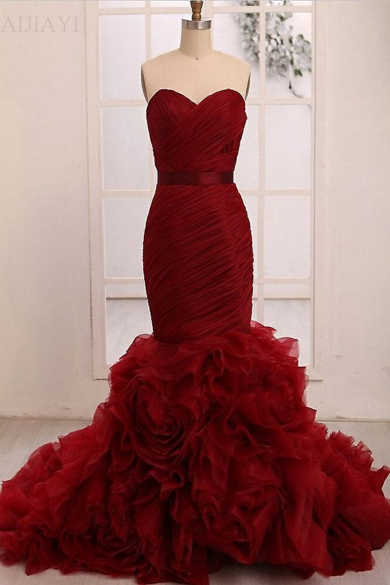 2014 Sexy Mermaid Evening Gown Sweetheart Tiered by AIJIAYI, $189.00