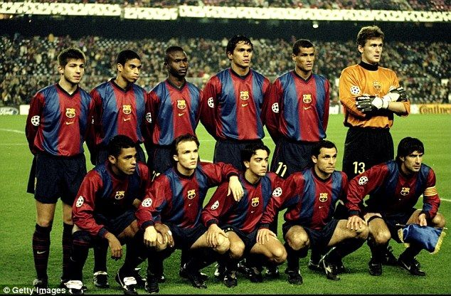 Xavi (centre front) lines up for a Champions League clash against Manchester United in 1998