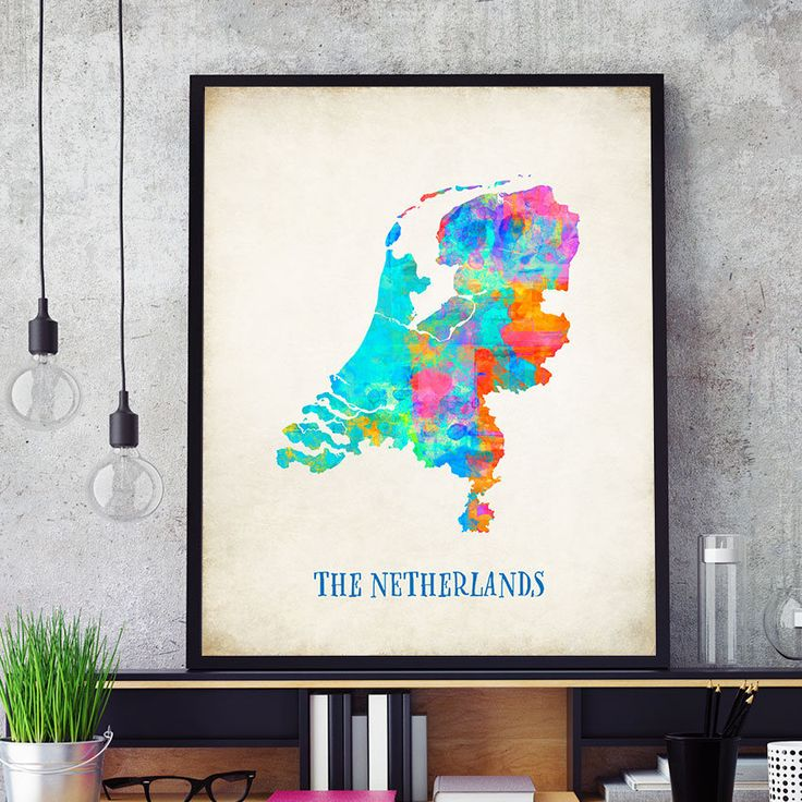 The Netherlands Map Print, Netherlands Poster, Watercolour Netherlands Map Wall Art, Dutch Wall Art, Holland Home Decor (709) by PointDot on Etsy