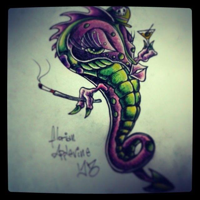 #TattooDesign #FlorianApplevine #ValhallaLublin #TattooColor #Seahorse #Draft #PerlaTattoo #konwent #wLublinie