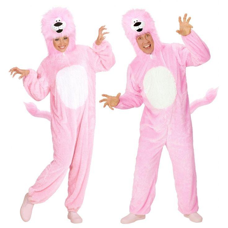Pluche roze leeuw kostuum. Roze leeuwen overall voor volwassenen. De overall is met staart en capuchon. Materiaal: 100% polyester.