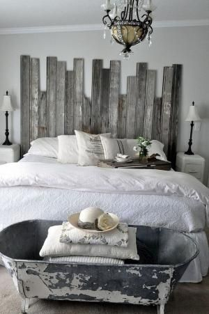 Reclaimed Wooden Headboard I love the steely color pallet... If I ever have a beach house, this will be in the master. by kelseyinfo