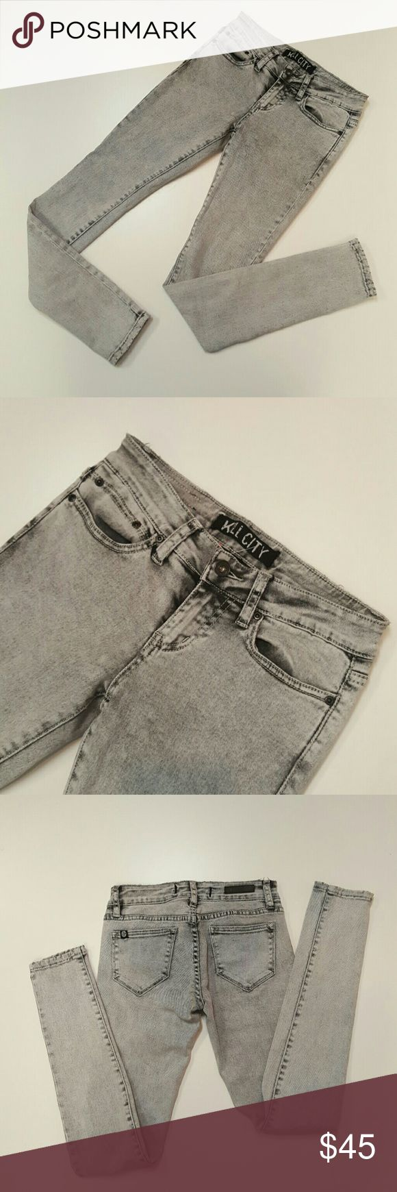 "Kill City Jean 31"" inseam 4.5"" leg opening 97% Cotton 3% Spandex Stretch EUC Kill City Jeans Skinny"