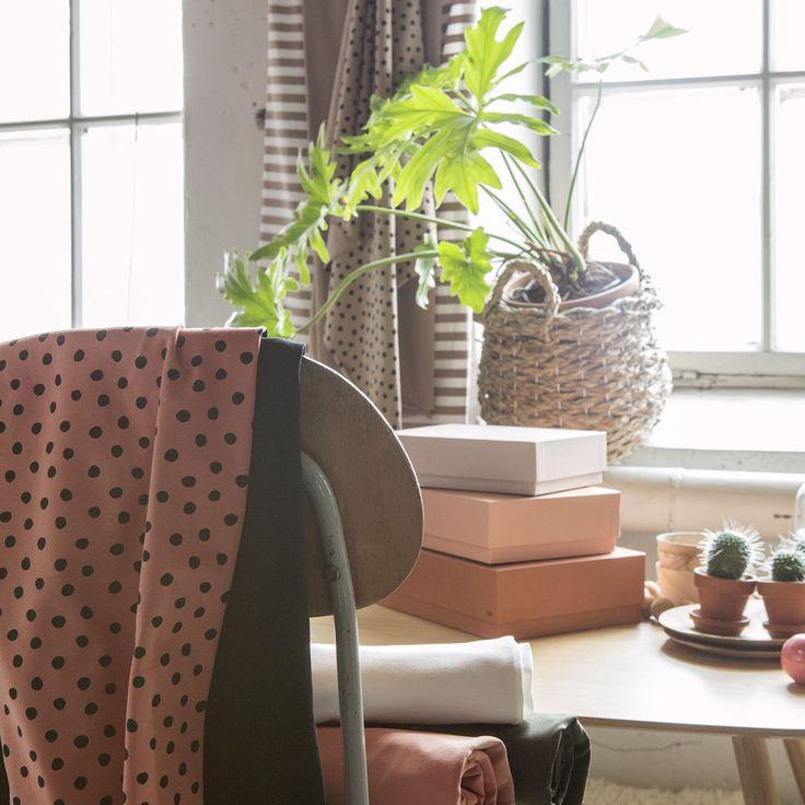 Raita jersey, vanilja - nuderoosa | NOSH verkkokauppa  | Get inspired by new NOSH fabrics for Spring 2017! Discover new colors, prints and quality organic cotton. Shop new fabrics at en.nosh.fi