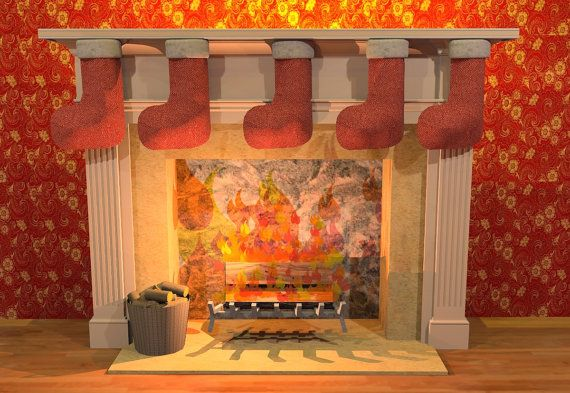 Christmas Fire Side by PhilomenaDunneArt on Etsy