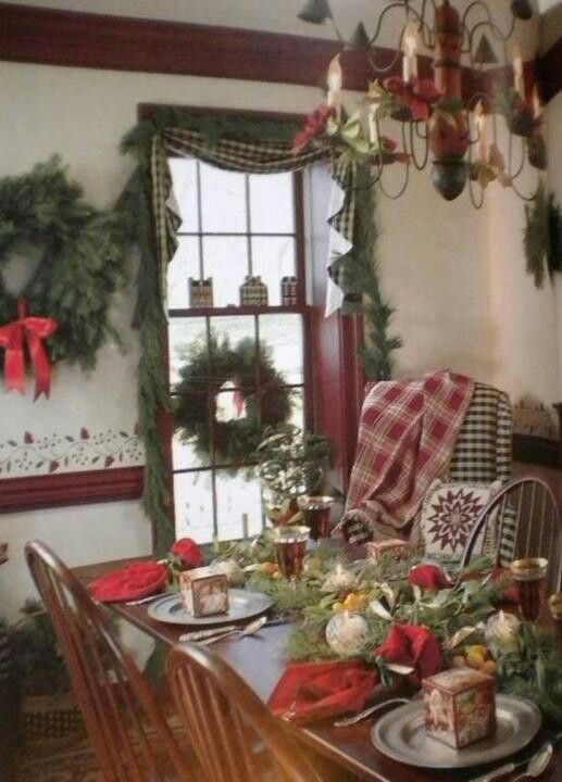 This is a long time favorite photo of a beautiful dining room decorated for Christmas.